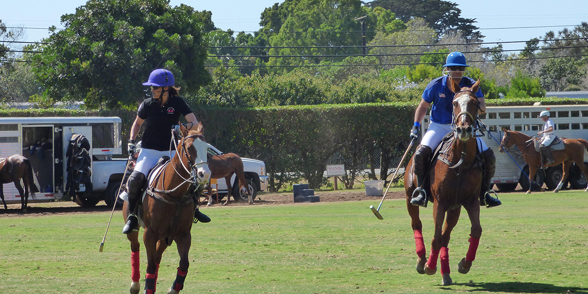 Lu Parker playing polo
