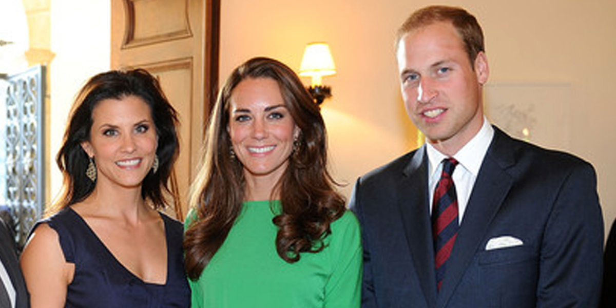 Lu Parker with Britain's Prince William, and Kate, Duchess of Cambridge